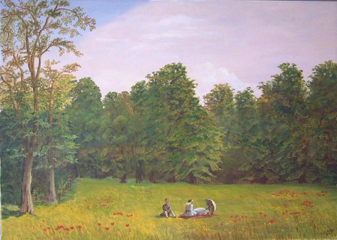 Baum, Landschaft, Malerei, Picknick