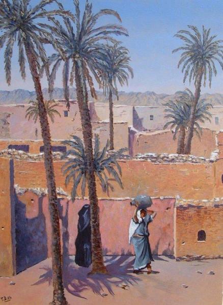 Orientalismus, Zeitgenössisch, Arabisch, Landschaft, Malen, Gegenwartskunst