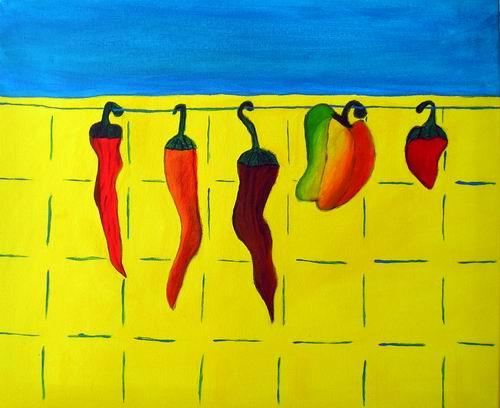 Paprika, Blau, Gelb, Küche, Stillleben, Malerei