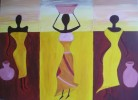 Frau, Malerei, Figural, Braun