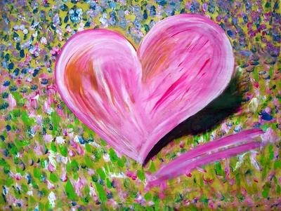 Rosa, Herz, Wiese, Blumen, Surreal, Malerei