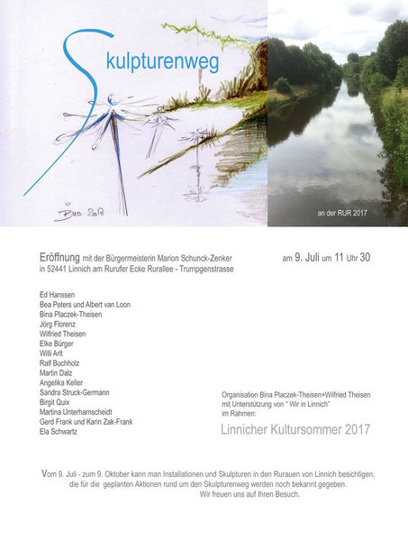 Rur, Installation, Skulpturenweg, Skulptur, Linnich, Pinnwand