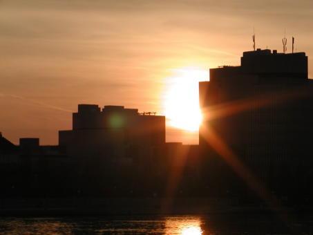 Stadt, Abend, Sonnenuntergang, Devila, Digitale kunst