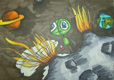 Zeichnung, Zeichnungen, Alien