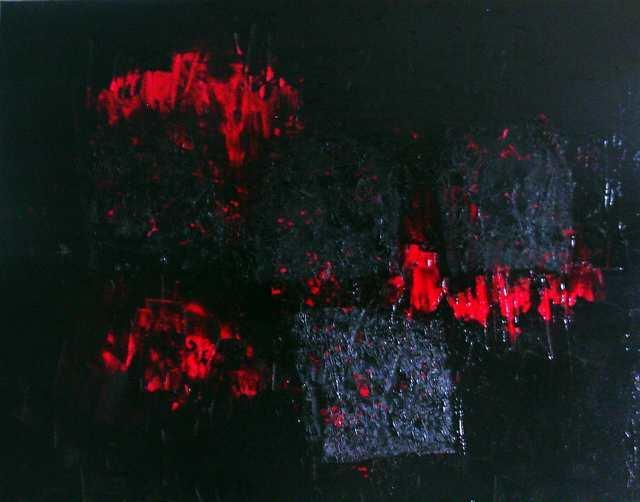 Modelliert, Acrylmalerei, Rot schwarz, Spachteltechnik, Malerei, Abstrakt