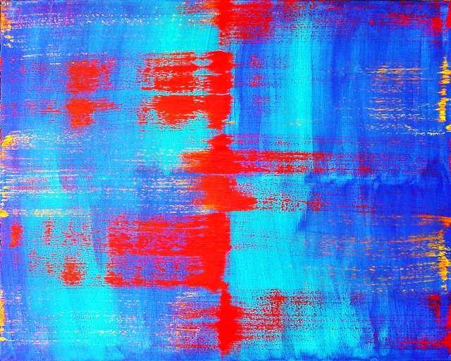 Gegenstandslos, Malerei, Gelb, Abstrakt, Blau, Acrylmalerei