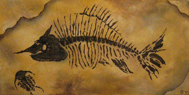Fossilien, Krebs, Skelett, Versteinerung, Gräten, Steinplatte