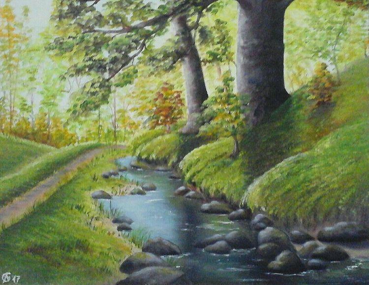 Wald, Gras, Baum, Waldweg, Natur, Bach