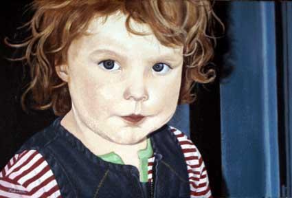 Portrait, Mädchen, Kind, Figural, Malerei