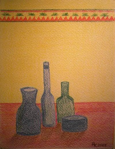 Zeichnung, Gelb, Stillleben, Grau, Rot, Grün