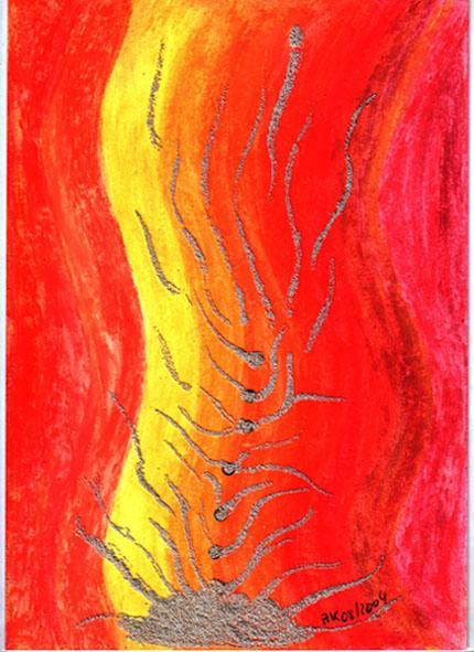 Rot, Ölmalerei, Orange, Gelb, Farben, Malerei