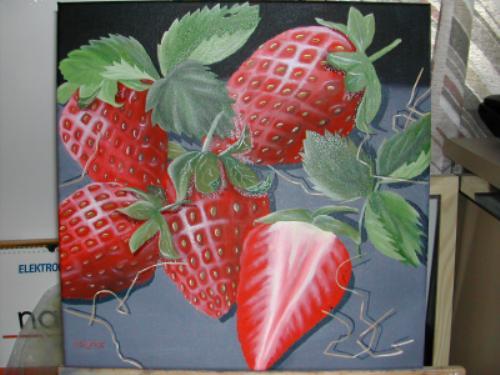 erdbeeren erdbeeren nachtisch fr hling holzwolle von sabine on kunstnet. Black Bedroom Furniture Sets. Home Design Ideas