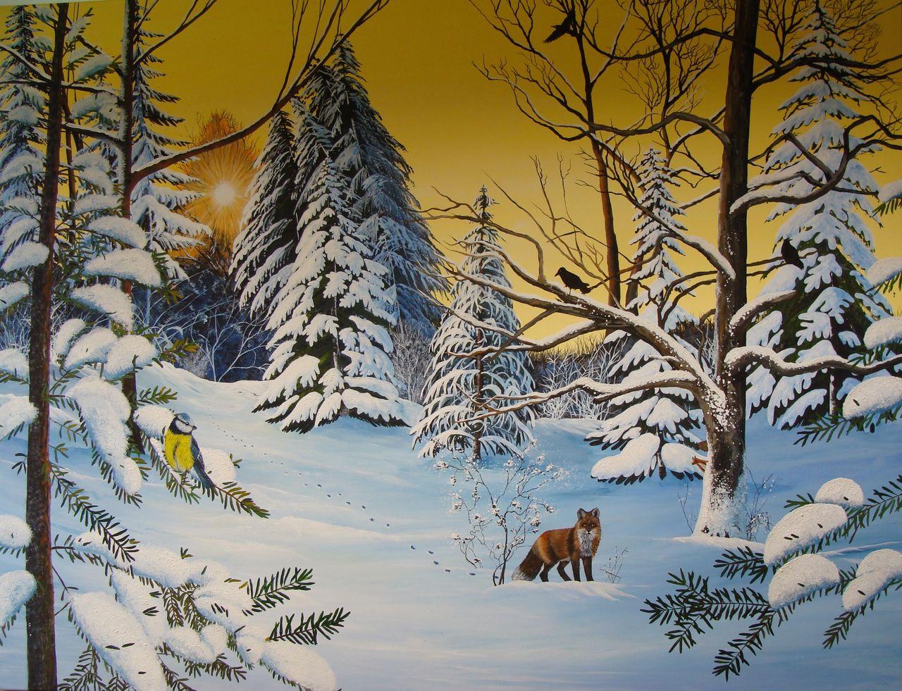winterwald wald acrylmalerei schnee winter von sabine. Black Bedroom Furniture Sets. Home Design Ideas
