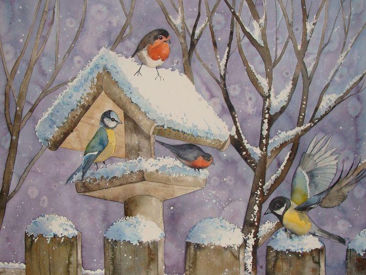 bild v gel winter schnee vogelhaus von sabine bei kunstnet. Black Bedroom Furniture Sets. Home Design Ideas