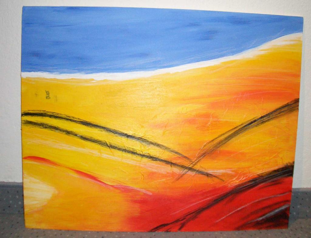 bild blau orange malerei rot von sandra bei kunstnet. Black Bedroom Furniture Sets. Home Design Ideas