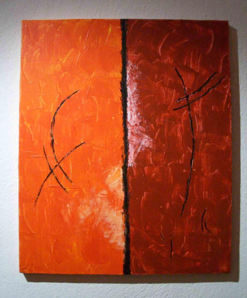 Orange, Acrylmalerei, Malerei, Abstrakt, Rot