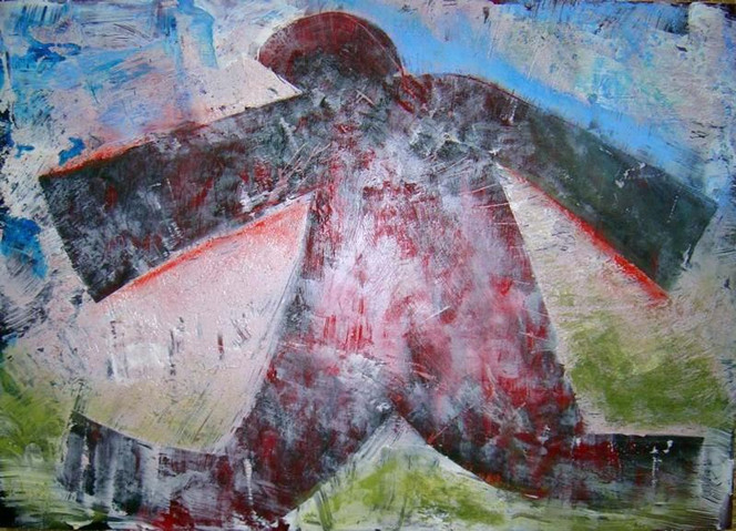 Acrylmalerei, Holz, Malerei, Figural, Kundera, Schwere