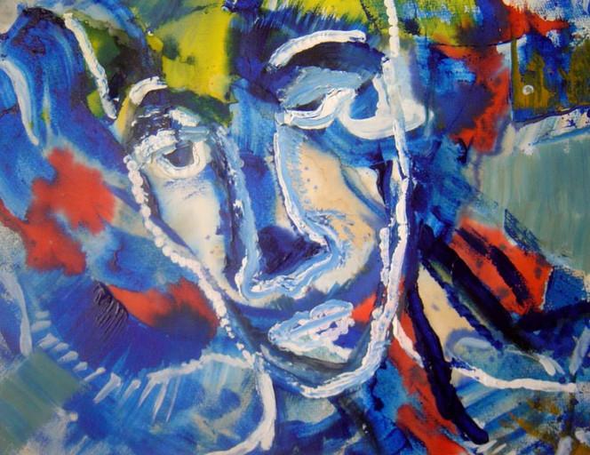 Acrylmalerei, Massai, Ethnologie, Figural, Afrika, Armut