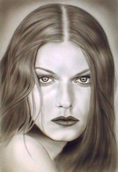 Airbrush, Freihand, Blick, Grafik, Portrait, Frau