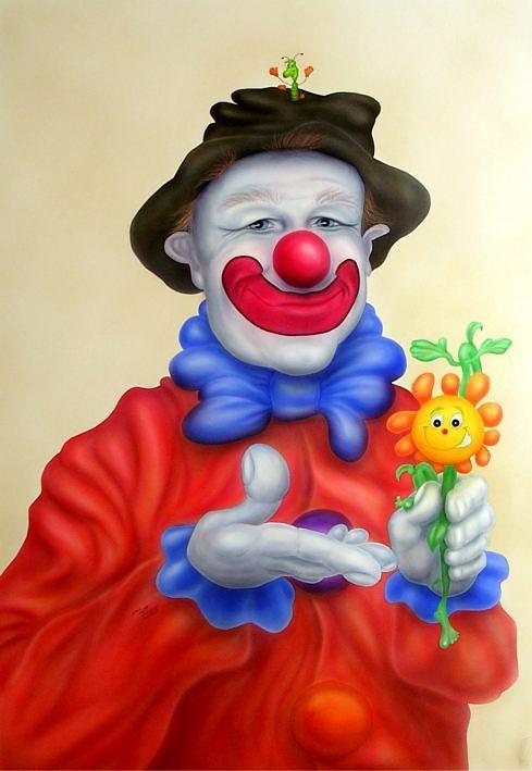 clown mit blume bild kunst von martin veith bei kunstnet. Black Bedroom Furniture Sets. Home Design Ideas