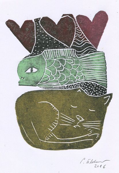 Katze, Herz, Linoldruck, Fisch, Druckgrafik, Traum