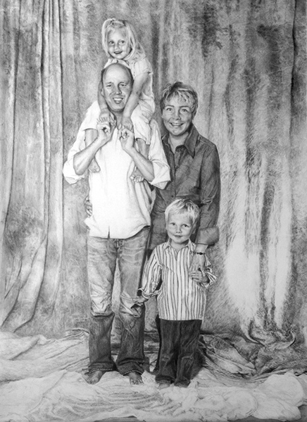 Familie, Zeichnung, Bleistiftzeichnung, Portrait, Zeichnungen