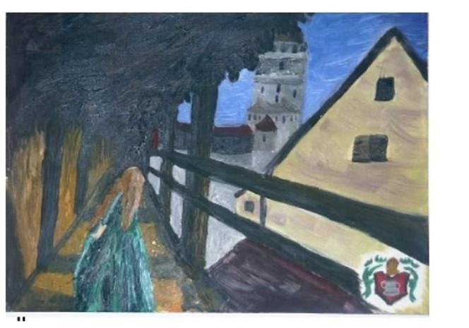 Frau, Burg, Malerei, Menschen