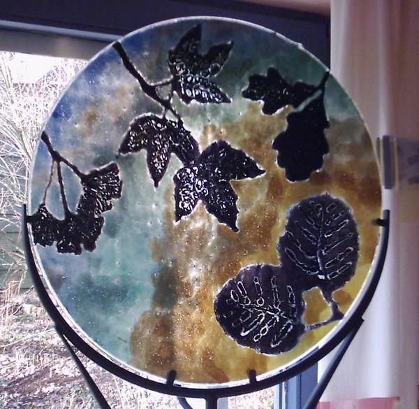 Blätter, Herbst, Glas, Fusing, Lampe, Natur