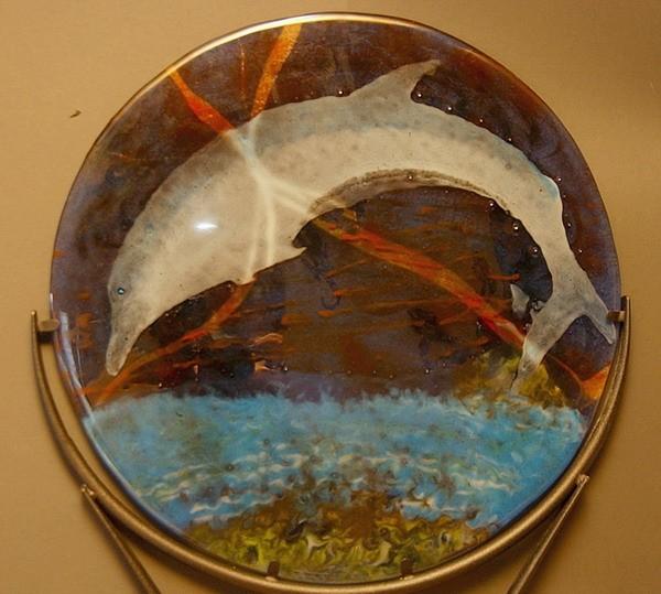Fusing, Glas, Delfin, Fisch, Wandbeschriftung,
