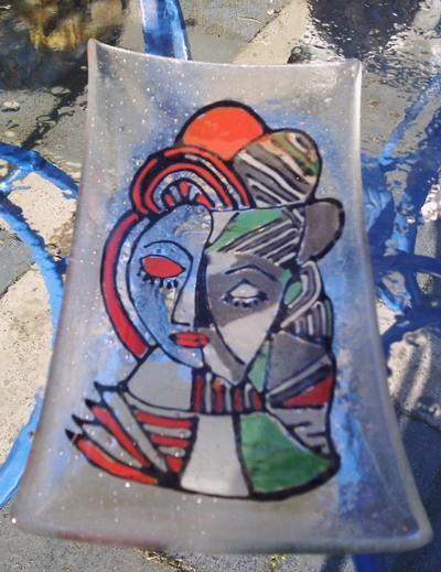 Glas, Popart, Fusing, Mann, Frau, Wandbeschriftung