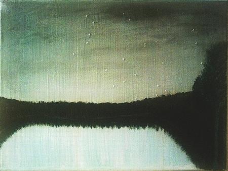 Stille, Dämmerung, See, Wald, Landschaft, Malerei
