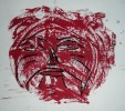 Druck, Malerei, Maske, Rot