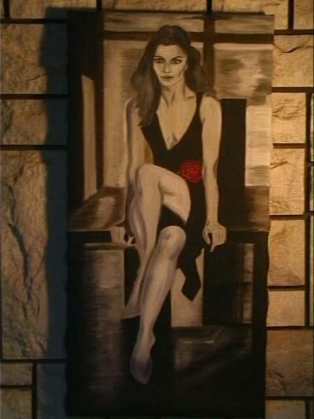 Rose, Malerei, Grau, Rot, Scwarz, Frau
