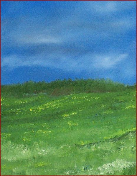 Berge, Jura, Wiese, Ölmalerei, Wolken, Malerei