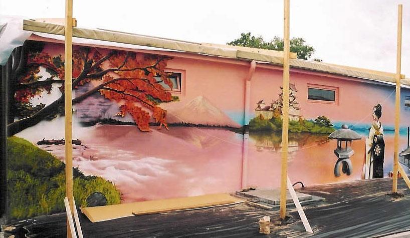 Japan, Malerei, Wandgestaltung, Garten, Graffiti, Gestaltung