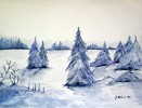 Grafik, Aquarellmalerei, Aquarell, Winter