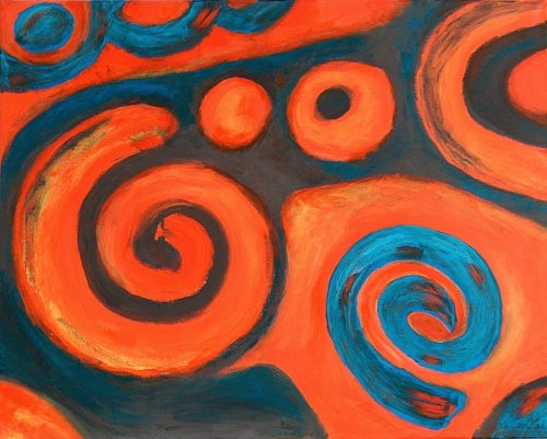 Orange, Abstrakt, Acrylmalerei, Malerei, Welle,