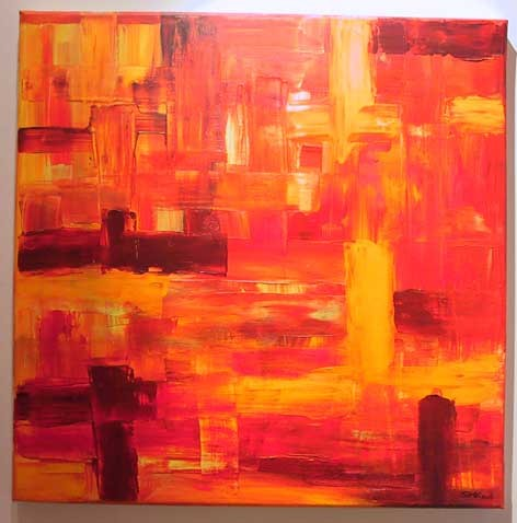 Orange, Rot, Gelb, Struktur, Acrylmalerei, Abstrakt