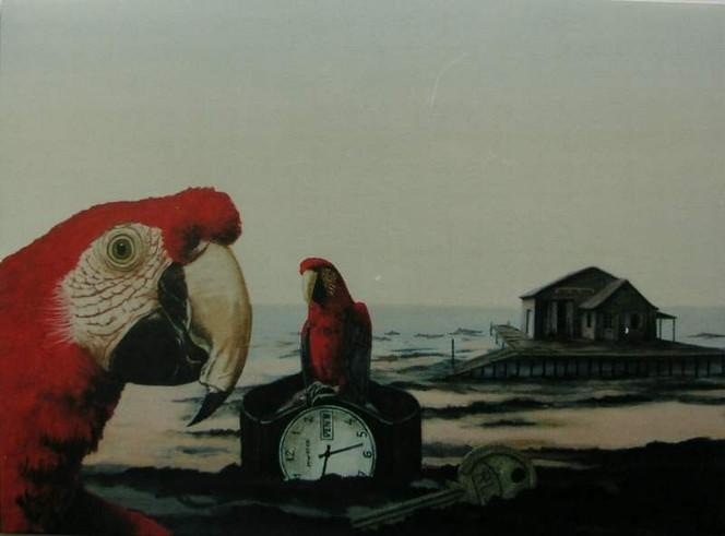 Uhr, Malerei, Papagei, See, Hütte, Strand