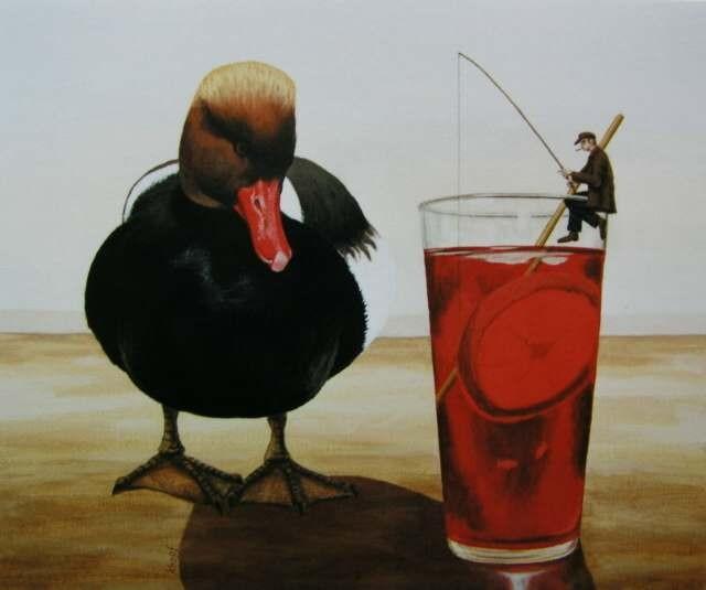 Fischer, Ente, Campari, Malerei, Glas, Rouge