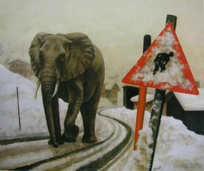 Malerei, Elefant, Straße, Schnee, Tiere