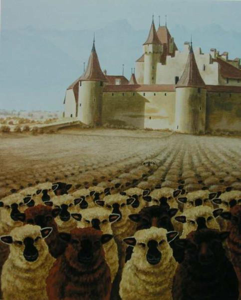 Schloss, Schaf, Malerei, Weinberg, Château