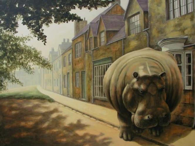 Haus, Malerei, Straße, Flusspferd