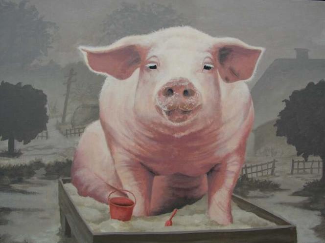 Sand, Spielzeug, Malerei, Schwein, Tiere