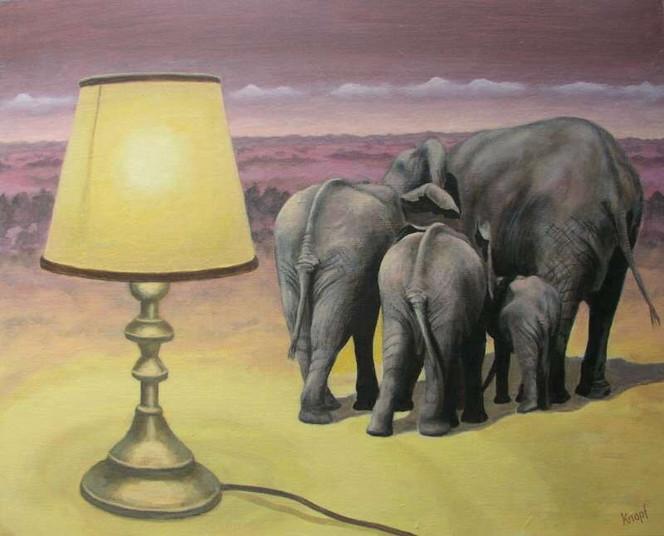 bild lampe gelb elefanten malerei von fran ois knopf bei kunstnet. Black Bedroom Furniture Sets. Home Design Ideas