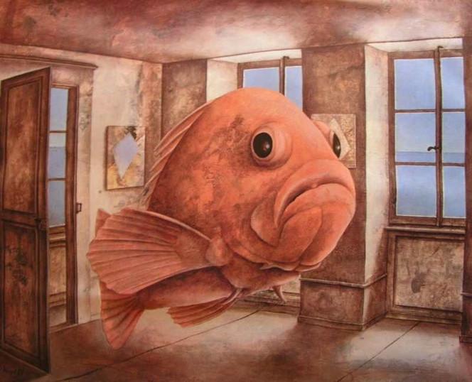 Fisch, Gemäldegalerie, Malerei, Rot, Tiere