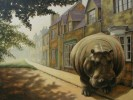 Straße, Flusspferd, Häuser, Malerei