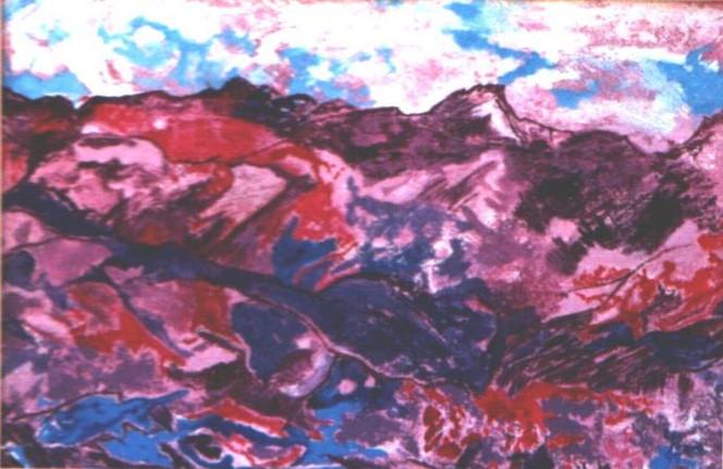 Malerei, Landschaft, Aufbruch, Ausbruch, Zerstörung, Eruption
