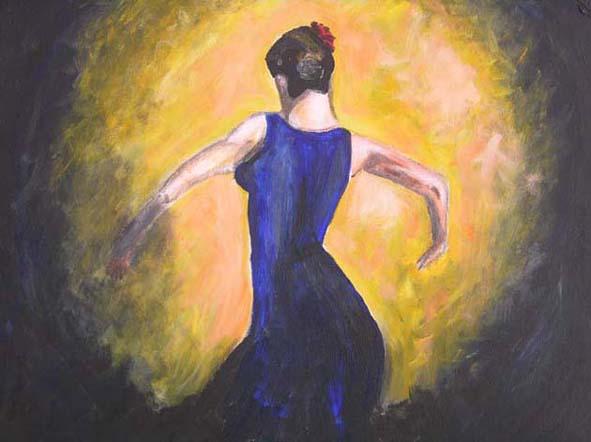 Flamenco, Frau, Bewegung, Figural, Malerei, Tanz