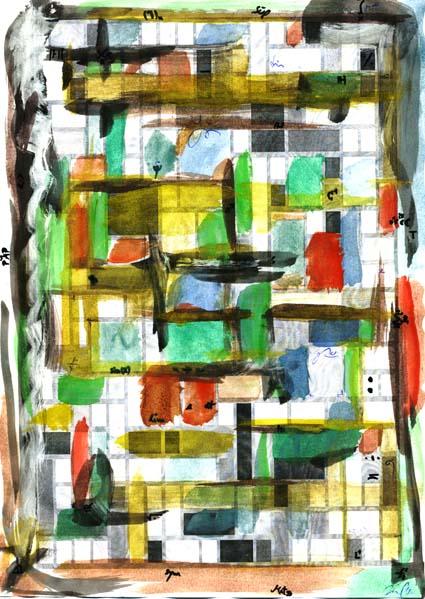 Modern, Wasserfarbe, Zeichnung, Formen, Farben, Kästchen